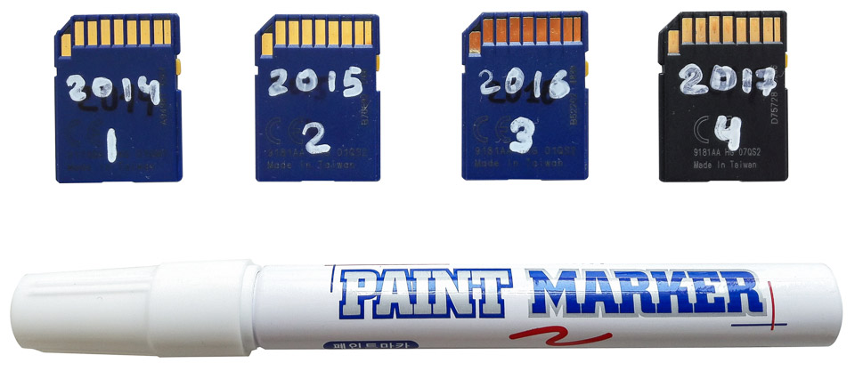 Маркировка карт памяти маркером